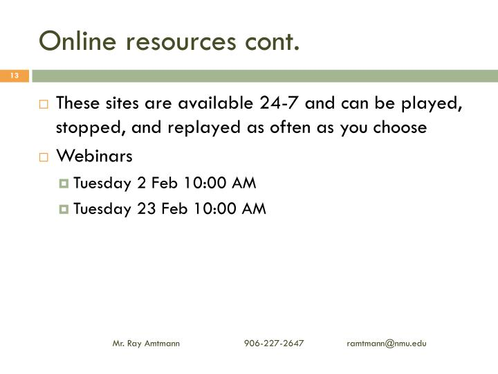 Online resources cont.