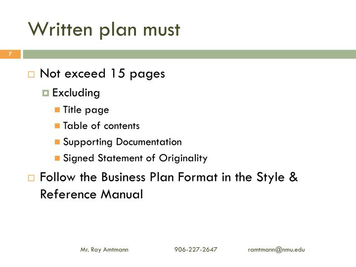 Written plan must