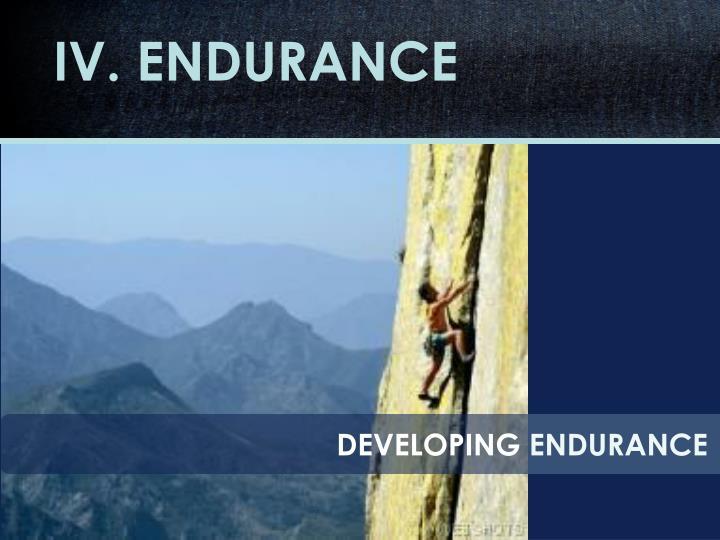 IV. ENDURANCE