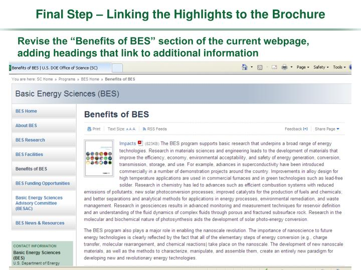 Final Step – Linking the Highlights to the Brochure
