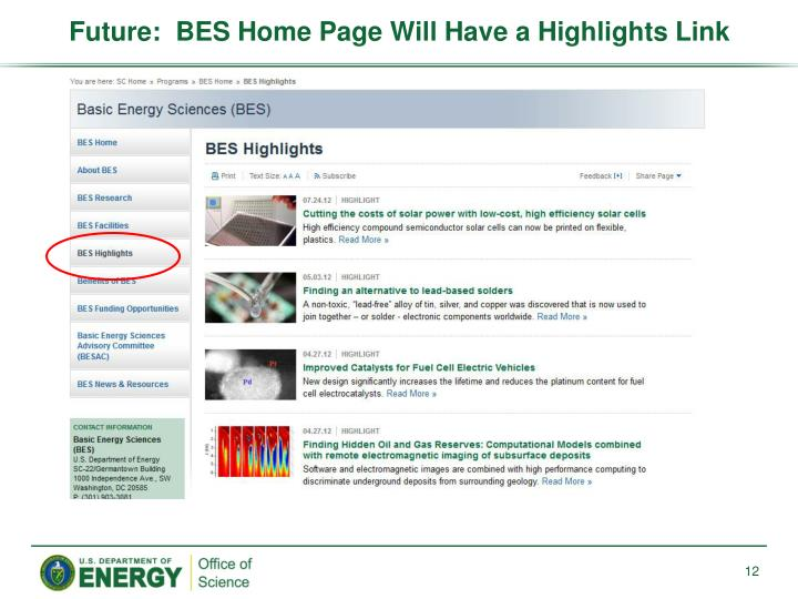 Future:  BES Home Page
