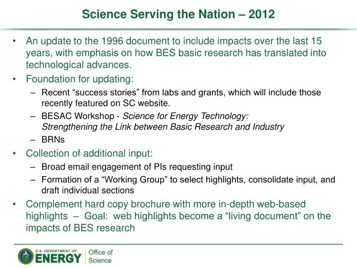 Science Serving the