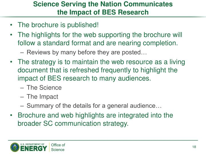 Science Serving the Nation Communicates