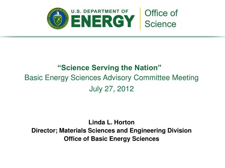 """Science Serving the Nation"""