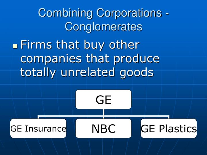 Combining Corporations - Conglomerates