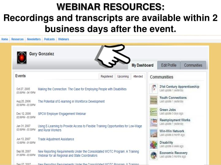 Access to Webinar Resources