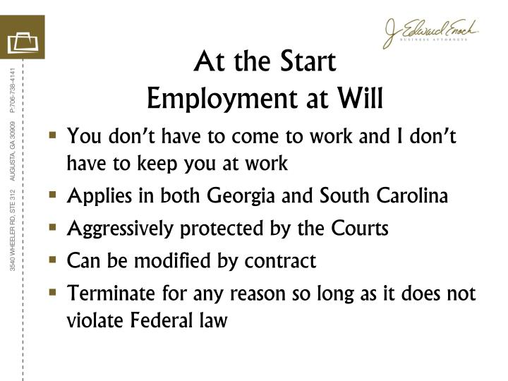 At the start employment at will