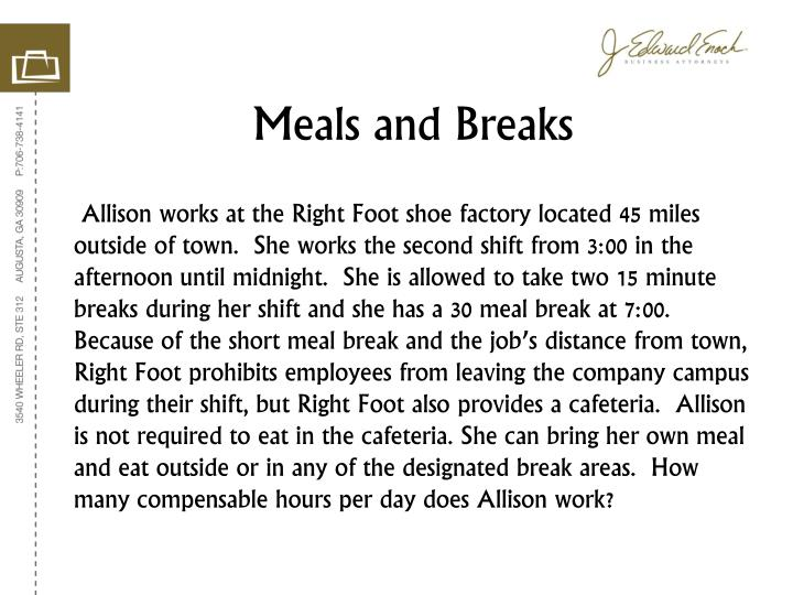 Meals and Breaks