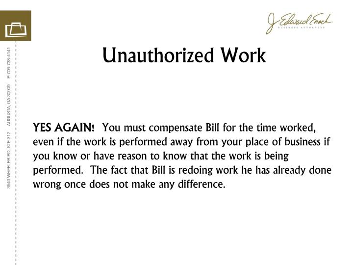 Unauthorized Work