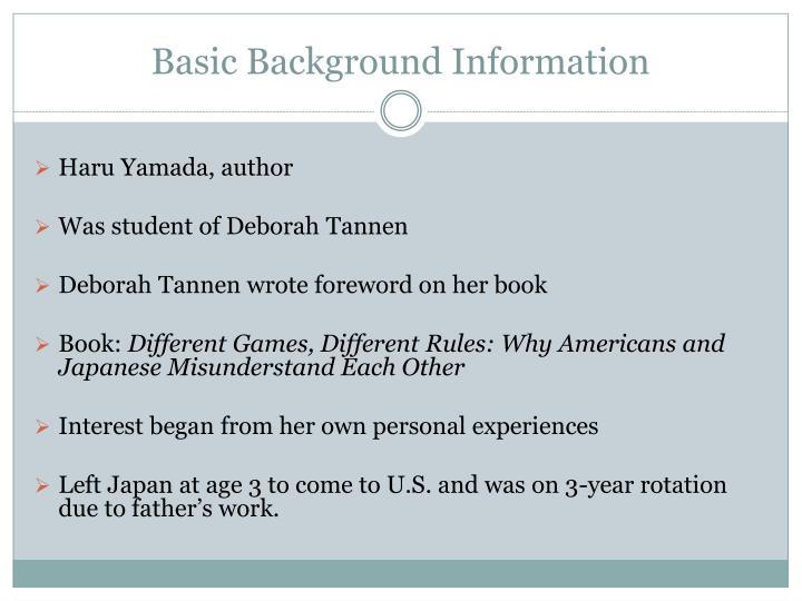 Basic Background Information