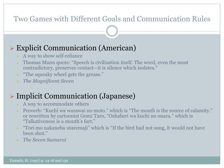 Two games with different goals and communication rules