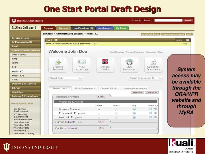 One Start Portal Draft Design
