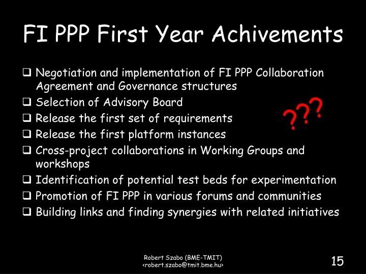 FI PPP First Year