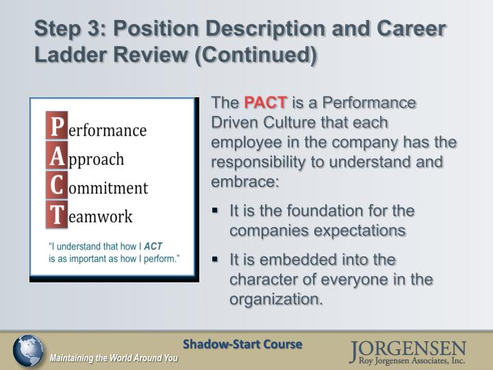 Step 3: Position Description and Career Ladder Review (Continued)