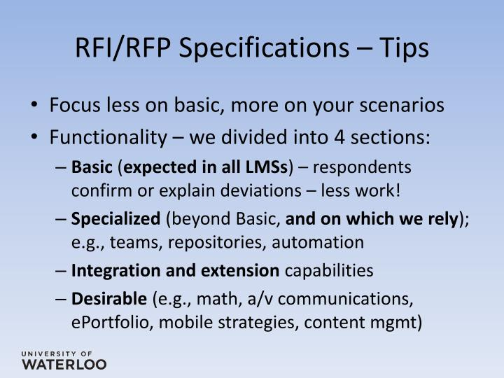 RFI/RFP Specifications – Tips