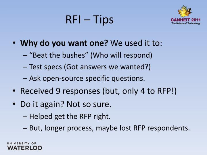 RFI – Tips