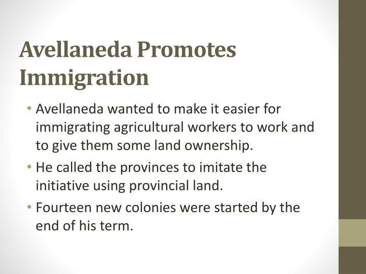 Avellaneda Promotes Immigration