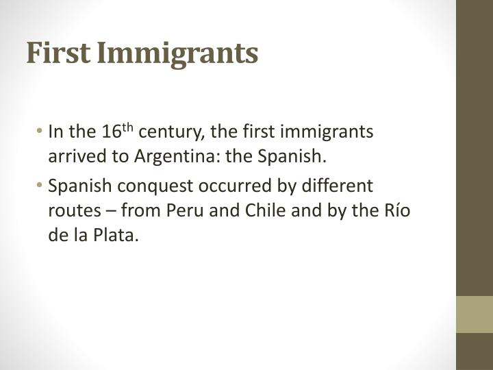 First Immigrants