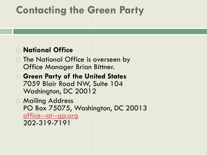 Contacting the green party