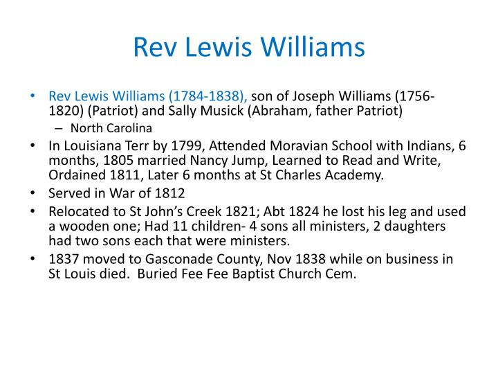 Rev Lewis Williams