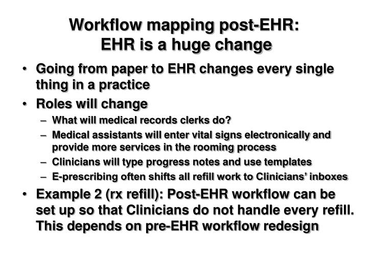 Workflow mapping post-EHR: