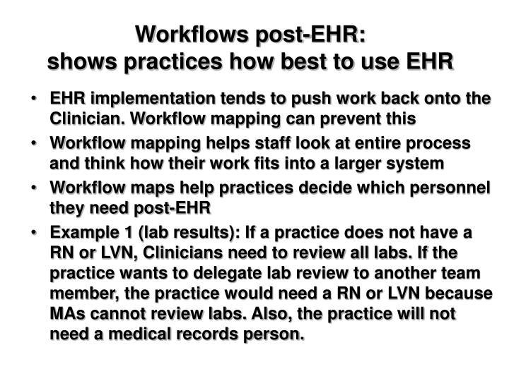 Workflows post-EHR: