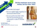 did the employee serve in the military service after 1956