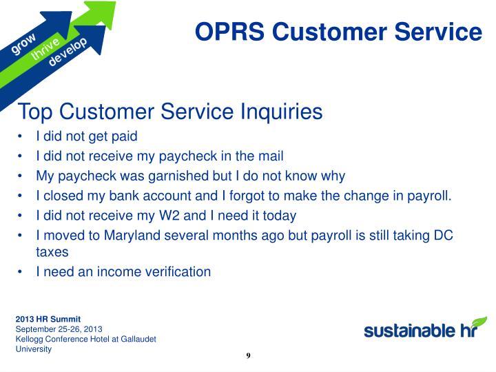 OPRS Customer Service