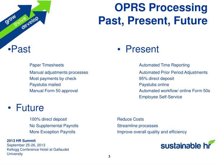 OPRS Processing
