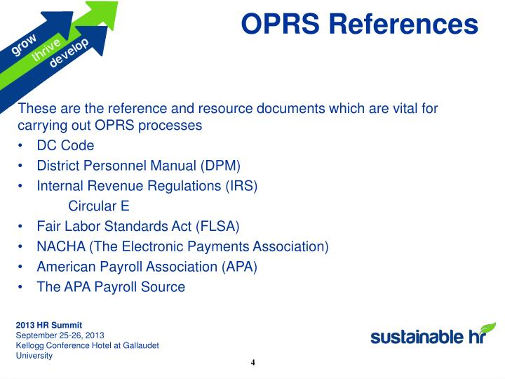 OPRS References