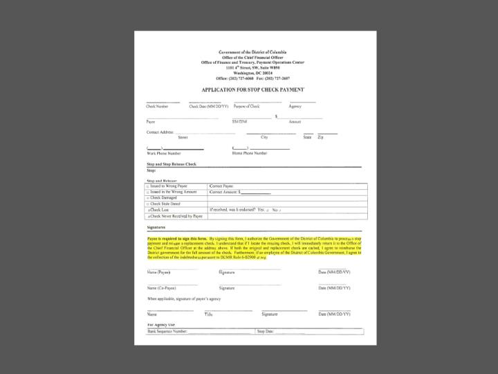 Stop Payment Form