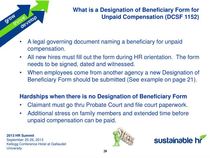 What is a Designation of Beneficiary Form for Unpaid Compensation (DCSF 1152)