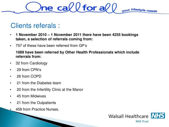Clients referals :