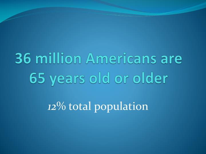 36 million americans are 65 years old or older