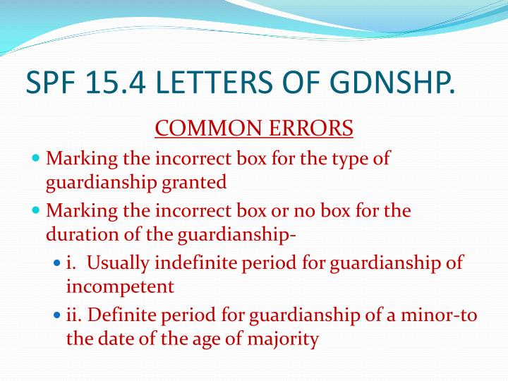 SPF 15.4 LETTERS OF GDNSHP.
