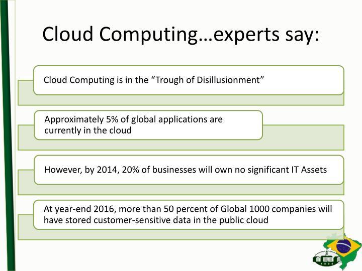 Cloud Computing…experts say: