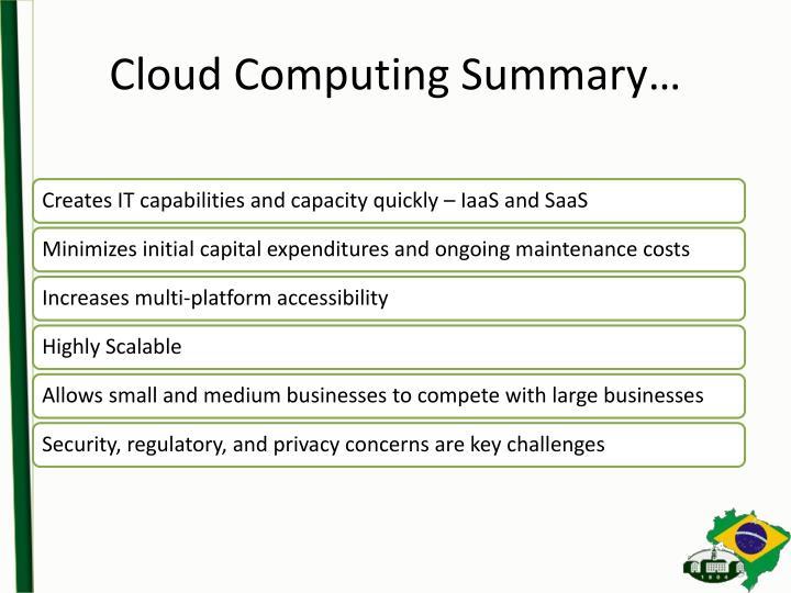 Cloud Computing Summary…