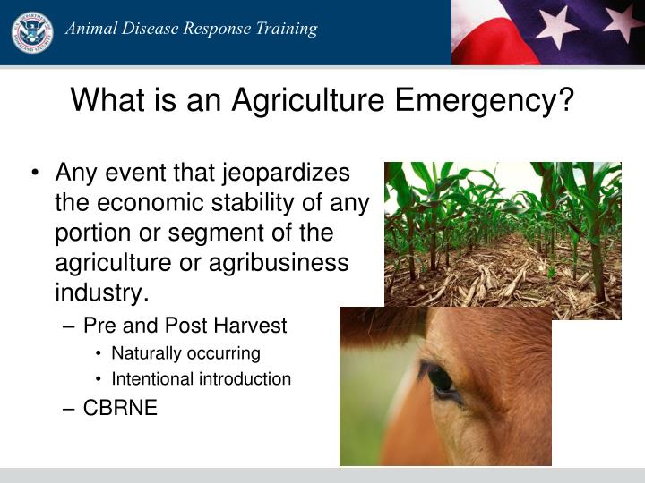 What is an Agriculture Emergency?