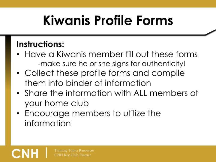 Kiwanis Profile Forms