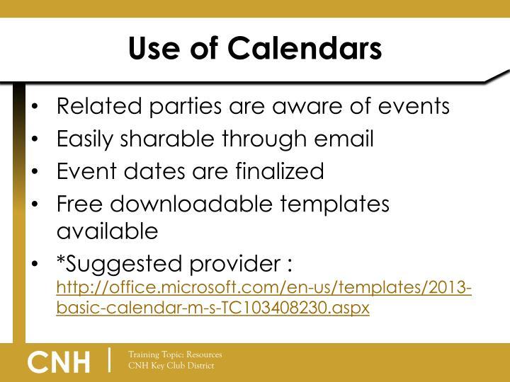 Use of Calendars