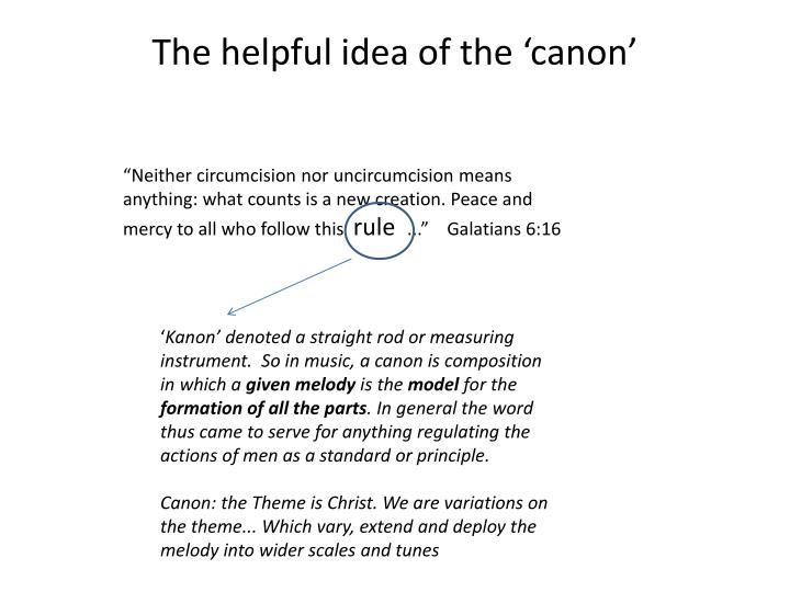 The helpful idea of the 'canon'