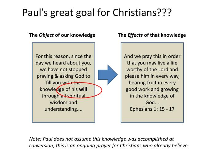 Paul's great goal for Christians???