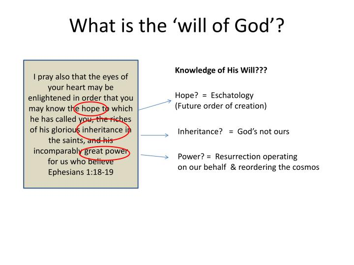 What is the 'will of God'?