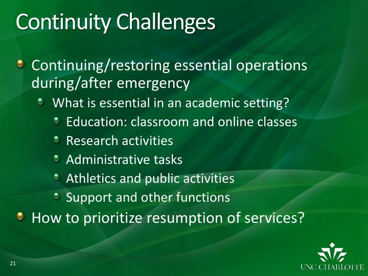 Continuity Challenges