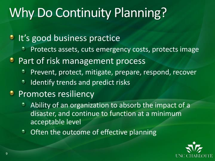 Why Do Continuity Planning?