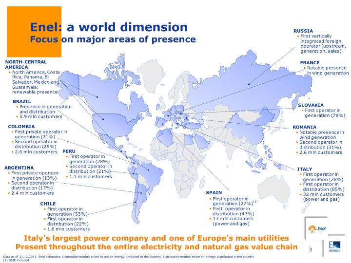 Enel a world dimension focus on major areas of presence