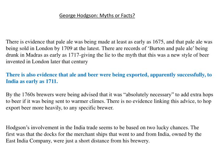 George Hodgson: Myths or Facts?