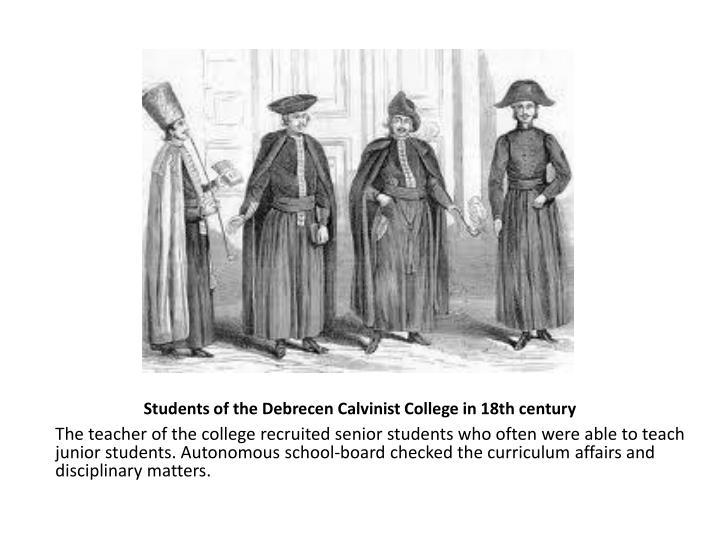 Students of the Debrecen Calvinist College in 18th century