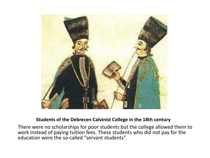 Students of the Debrecen Calvinist College in the 18th century
