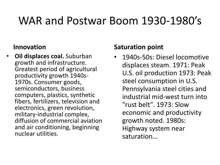 WAR and Postwar Boom 1930-1980's